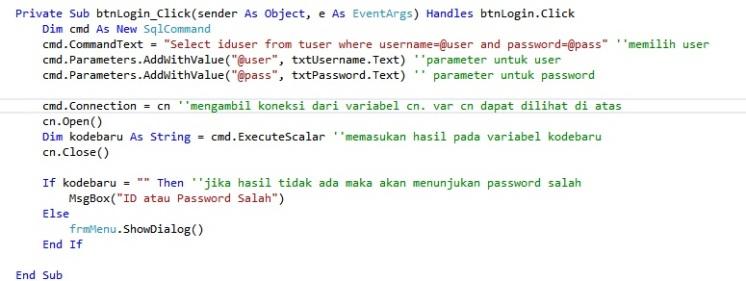 Kode yang digunakan